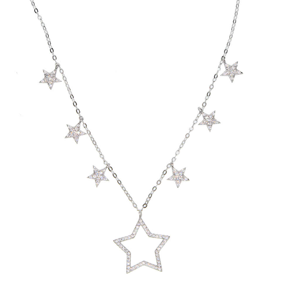 100% 925 sterling silver popularne gwiazda urok znaczek 925 micro pave cz wyczyść cyrkonia kobiety mężczyzna cz gwiazda naszyjnik w stylu