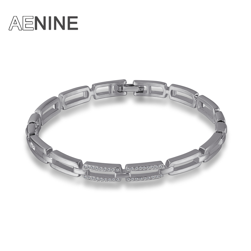 AENINE Silver Color Lovey Bracelets & Bangles For Women Clear Rhinestone CZ Paved Eternity Bangle Jewelry B16004