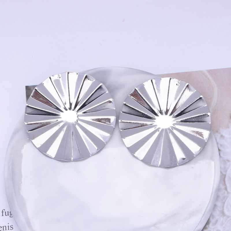 EK400 European & American Brand Personality Gear Metal Round Stud Earrings For Women Statement Jewelry Simple Party Jewelry