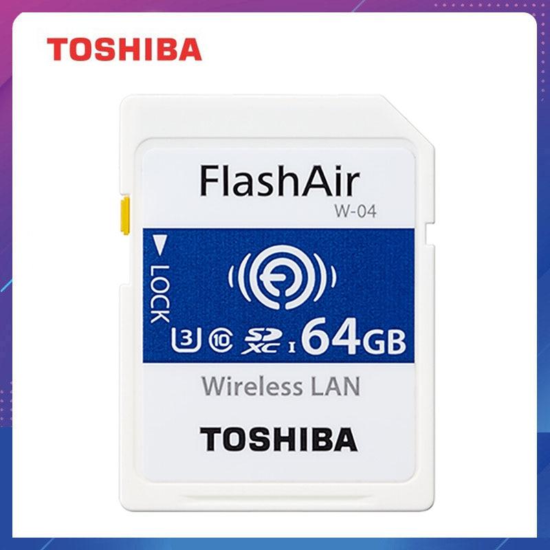TOSHIBA Cartão de Memória Flash Air W-04 32GB 64GB 90 Mb Sem Fio wi-fi Cartão SD Cartão de Memória SDHC Tarjeta WIFI sd Carte SD Para A Câmera