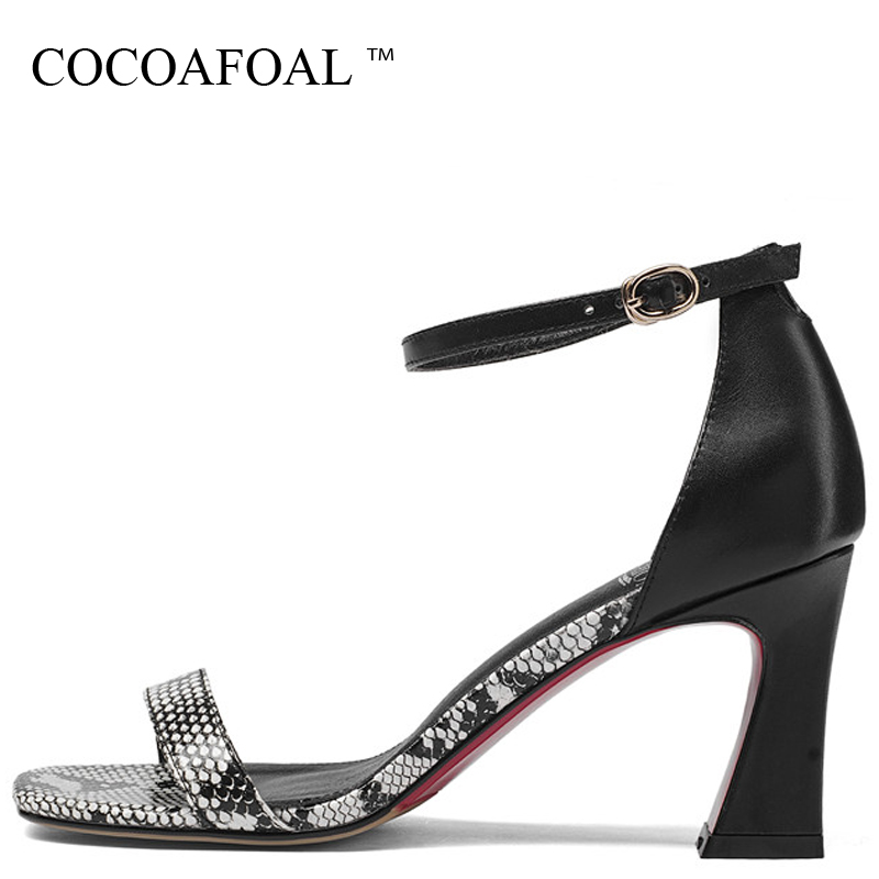 COCOAFOAL Women Snake Skin Genuine Leather Sandals Big Size 33 43 Peep Toe Sexy Heels Shoes Party Open Toe High Heels Sandals цена 2017