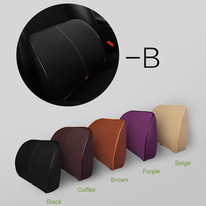 Image 5 - O SHI CAR PU Leather + Memory Cotton Car Seat Supports Comfortable And Healthy Lumbar Pillow Pad Waist Thicker Cushion