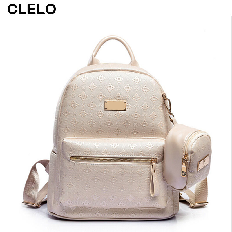 CLELO Fashion Embossing Women Large Pu Leather Backpacks Female Hot Sale Schoolbag Travel Bag High Quality