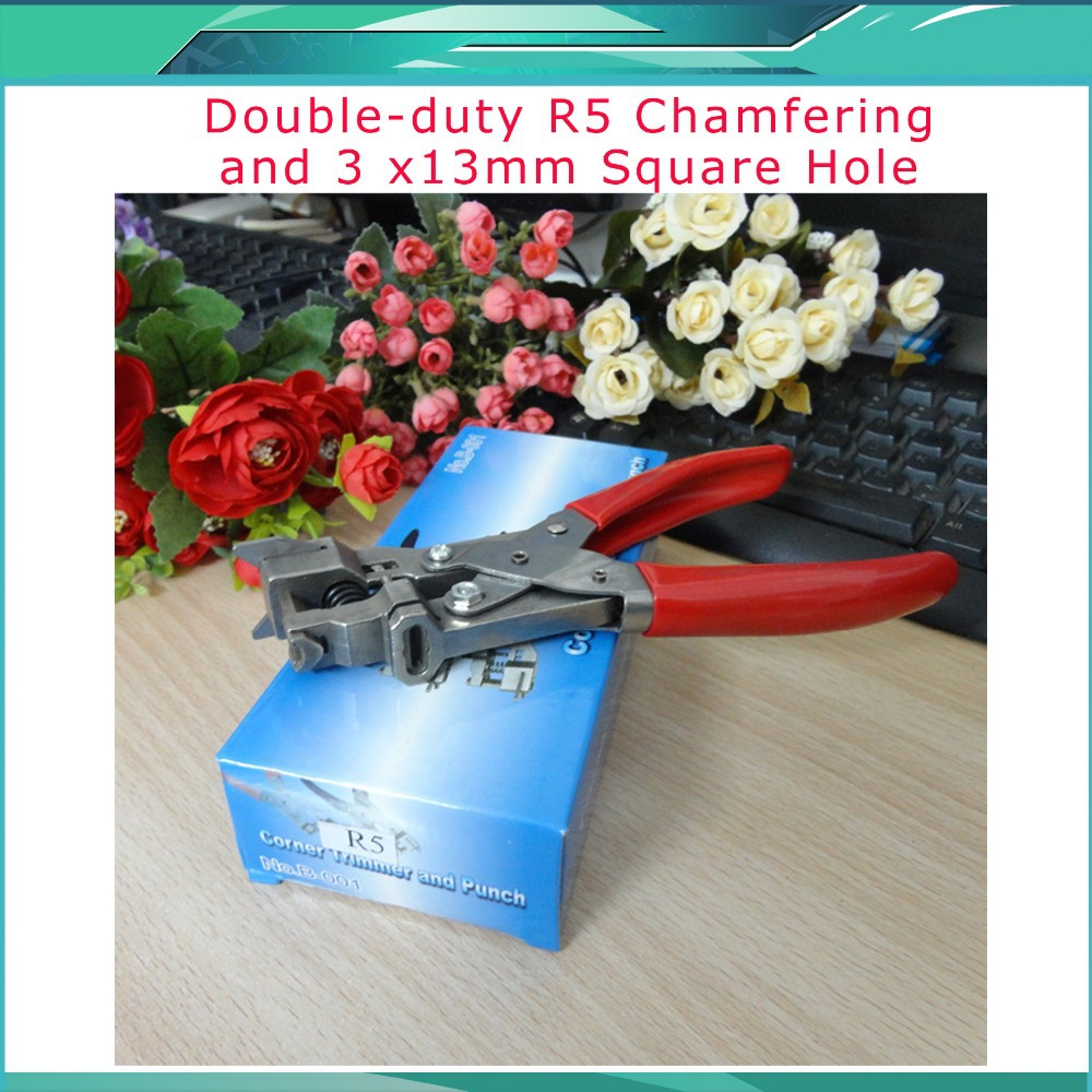 Free shipping PVC card chamfering flat hole punch R5 corner+3 x13mm square plier double use for the mobile phone film free shipping t shape hole punch shapes furadores hardballs pvc card plier 30x6mm stationery supply