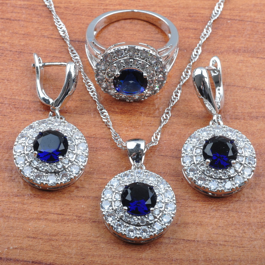 AAA+ Quality Blue Zirconia Silver 925 Jewelry Sets For Women Bridal jewelry Earrings Necklace Pendant Ring JS0269