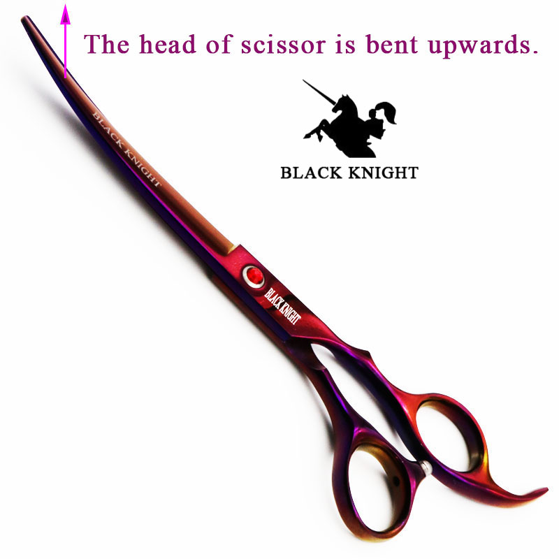 BLACK KNIGHT Professional 7 inch hair scissors Barber Hairdressing Cutting shears salon Curved upward pet scissors black style