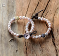 Pearl Bracelet 8MM Freshwater Pearl with Micro Paved Cubic Zirconia Leather Wrap Bracelet Handmade Natural Pearls Bracelet