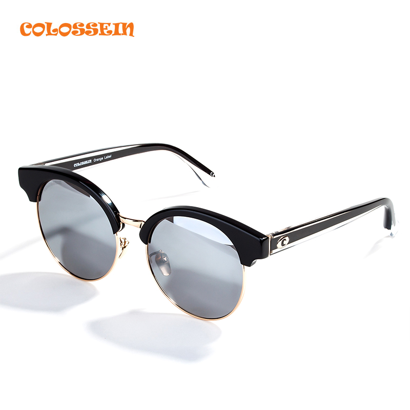 COLOSSEIN ORANGE LABELSunglasses Men Classic Vintage Black Round Frame Polarized Lens Glasses Fashion Travel Necessary Eyewear