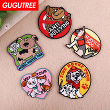 GUGUTREE embroidery dogs cats patches animal badges applique for clothing YX-257