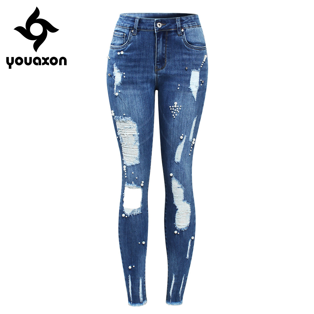Blue White Skinny Denim Ripped Jeans Stretchy Distressed Jeans for Womens
