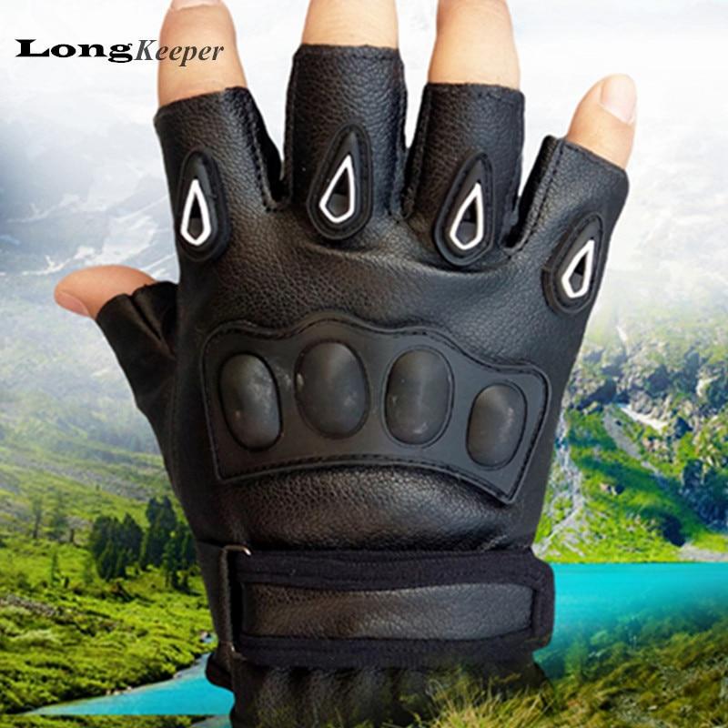 LongKeeper Tactical Gloves Men Half-finger Mittens PU