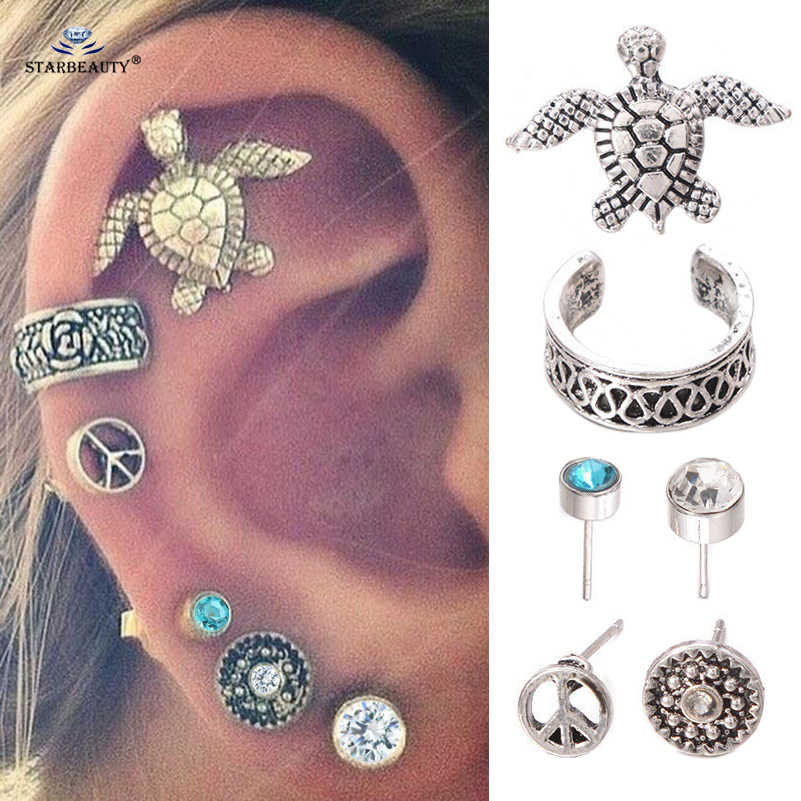 6pcs/lot Blue Bijoux Turtle Ear Piercing Helix Piercing Orelha Rose Ear Cuff Stud Earrings Pircing Tragus Peaceful Body Jewelry