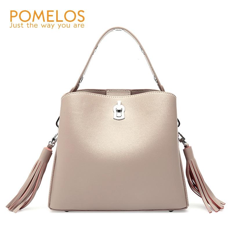 7f7368b093 POMELOS New Women Fashion Genuine Leather Tassel Bucket Bag Handbag Ladies  Hand Bags Purse Girls Female Shoulder Crossbody Bags