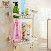 WB Series Fashion White Painted Carving Brass Bathroom Shelf Single Double Layer Corner Shelf Bathroom Basket