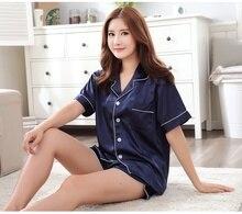 Высококлассные пары пижамы Наборы Для женщин Пижама с длинными рукавами Домашняя одежда ночная рубашка мягкий искусственный шелк атлас с коротким рукавом Шорты пижамы