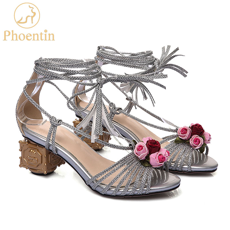 Phoentin summer sexy women ankle strap sandals shoes square strange heels new sheepskin flower lace up