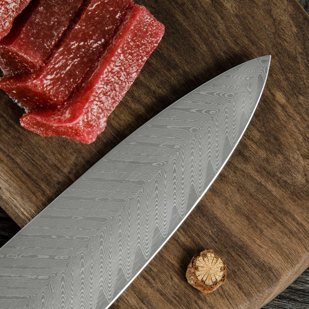 XYj VG10 Damascus Steel Kitchen Knives 8 inch Fish Bone Pattern Blade Chef Knife Simple Style Vegetables Fruit Damascus Knife