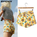 2015 Summer Womens New Fashion Sunflowers Pattern Hemming High Waist Denim Shorts Jeans Short Cintura Alta Female Women Feminino