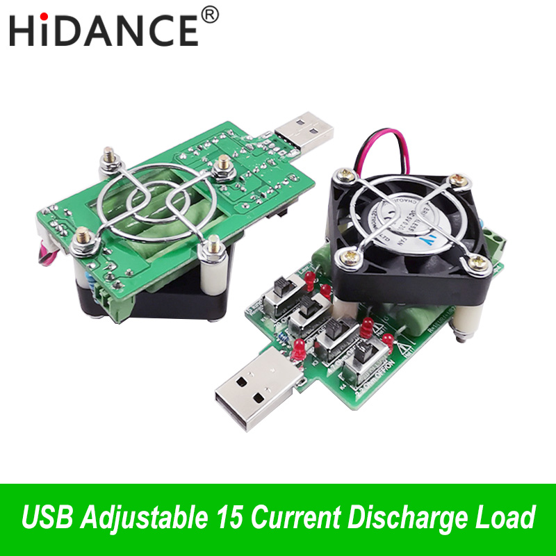 Justerbar 15 slag Aktuell USB-belastningsmotstånd elektronisk urladdningsmotståndskapacitet testare DC Voltmeter energispänning ammeter