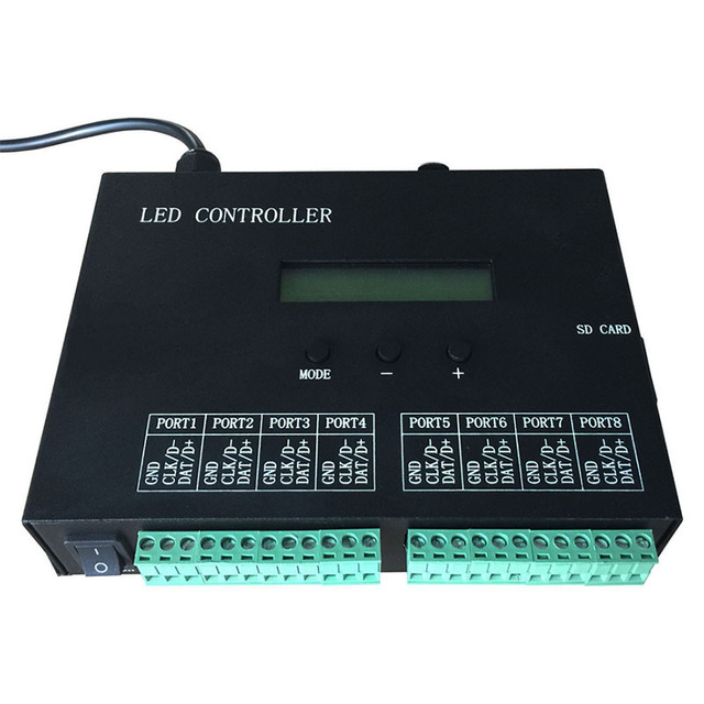 LED controller,full color programmable,DMX512 controller,8 ports drive 8192 pixels,can connect DMX console,support many chips