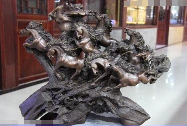 14 China Classic Copper BRASS brass Pure Copper Brass Good Lucky Lucky Gallop Run Nine Horse Art Statue Brass Crafts Arts