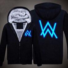 Новые Зимние Куртки и Пальто Исчез Алан Уокер балахон Световой Толстая Молния Мужчины Кофты