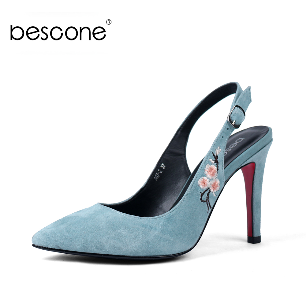 BESCONE Sexy Pointed Toe Woman Sandals High Quality Kid Suede Embroider For Female Shoes 10cm Thin