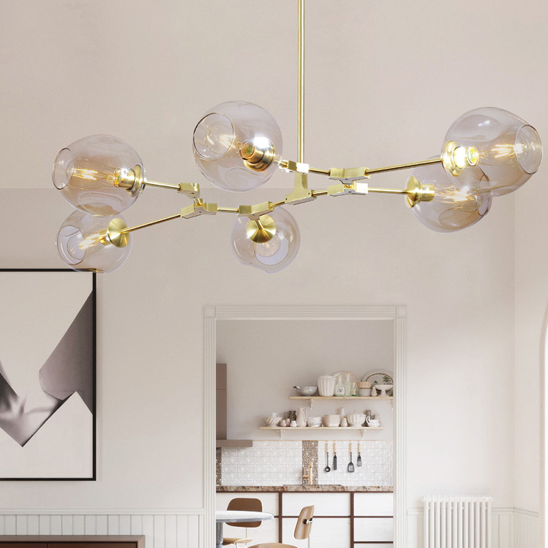 modern globe bubble chandelier branching led ceiling pedante hanglamps for living room bedroom lustres para quarto - Bubble Chandelier
