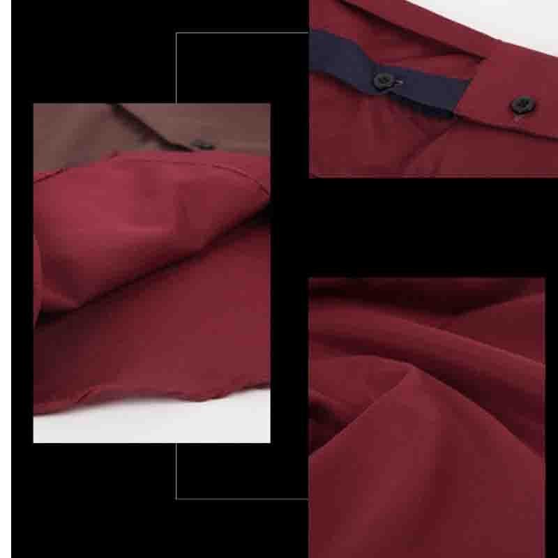 130f464774 Moda 2018 Otoño Invierno traje camisa roja vino moda empalme hombres manga  larga casual Camisa social camisa de vestir en Camisas de vestir de La ropa  de ...