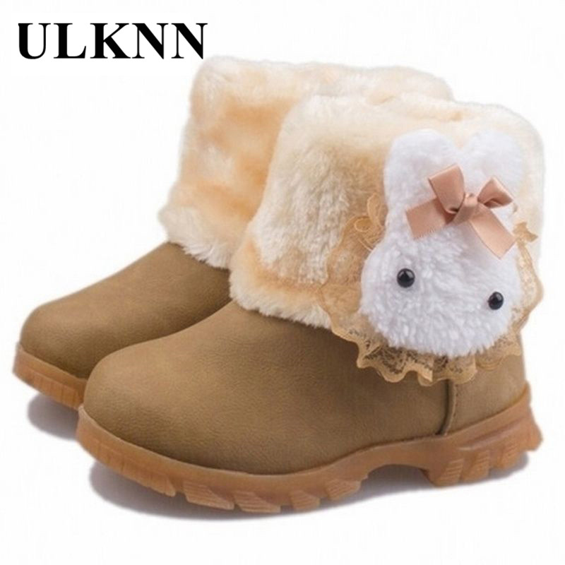 n Children Snow Boots 2017 New Style Baby Warm Plush Girls Shoes Fashion Leather Cute Rabbit Princess Boots Kids Shoes Cotto new korea style fashion handbag cute kids children fashion brand princess party crossbody bag with gold chain for baby girls