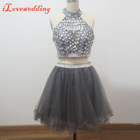 Handmade Royal Blue Two Pieces Homecoming Dresses Sleeveless with Silver Beads and Crystal Halter Above Knee Graduation Dresses