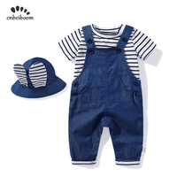 Children overalls Jeans Baby Boys Girls Fashion Cotton Short sleeve T shirt Pockets Trousers and hat infant newborn clothes set