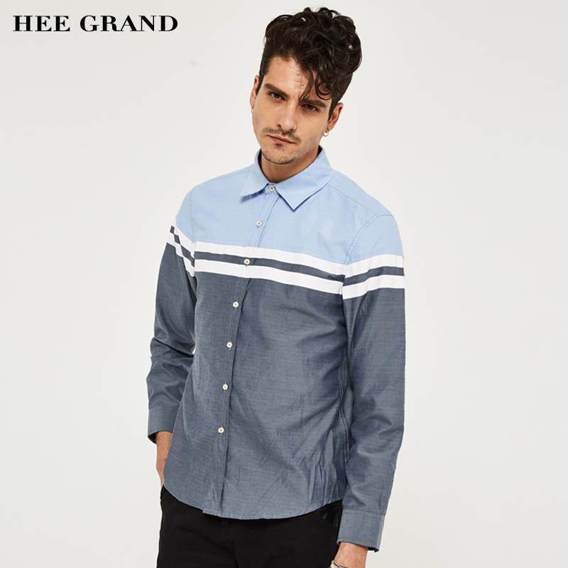 HEE GRAND Men's Shirts 2018 Spring Autumn Casual&Business