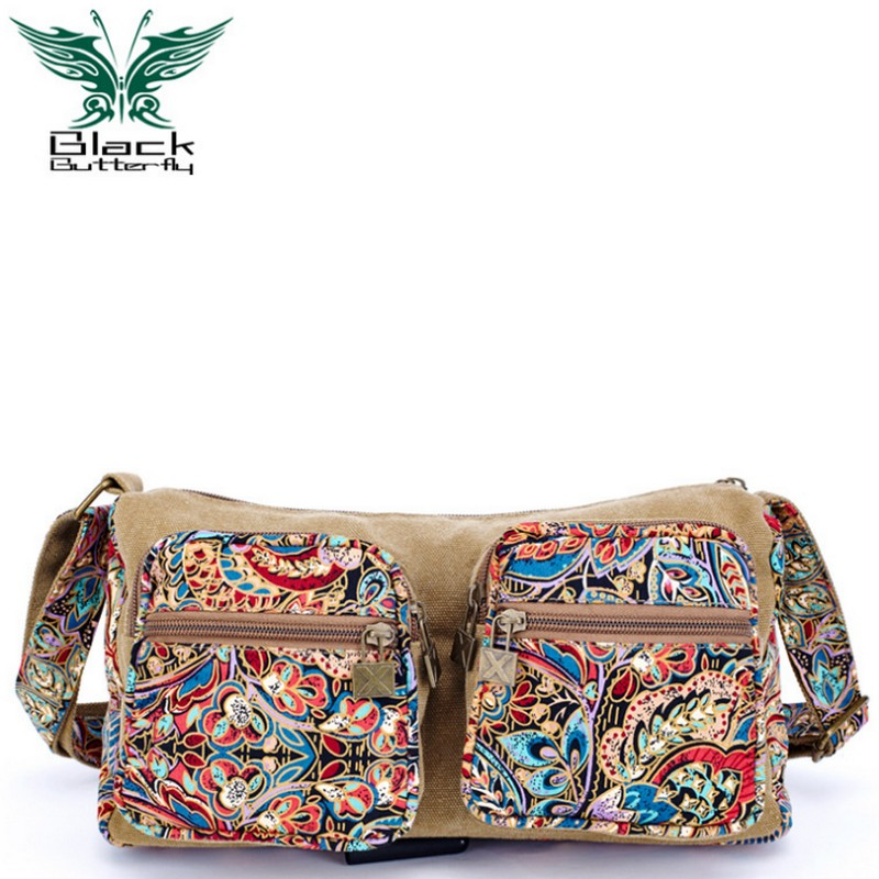 Black Butterfly original design Ethnic Style women Shoulder Bag Female Casual Messenger Bag Mujer Embroidery Crossbody Bag ethnic style elephant print and black design shoulder bag for women