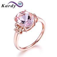 Модные украшения морганит драгоценный SOLID 14 К розовое золото бриллианты Обручение обручальное кольцо наборы для Для женщин