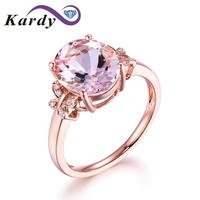 Fashion Jewelry Morganite Gemstone Solid 14K Rose Gold Diamonds Engagement Wedding Band Ring Sets for Women