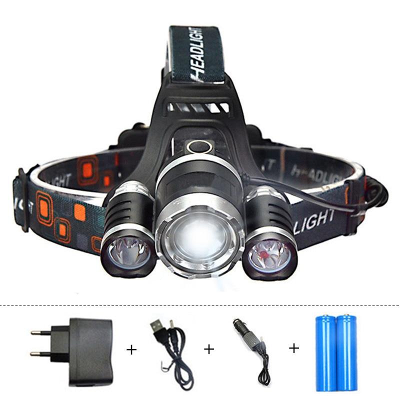 ZPAA 3 CREE XML T6 LED Head Torch 12000 lumens LED Headlamp Headlight Zoomable Head Flashlight camp hike Bike outdoor Lighting