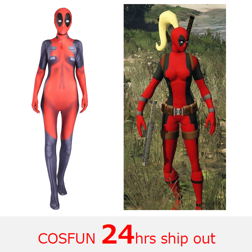 Woman Deadpool sword-fighting version Deadpool cosplay Costume Wade Wilson Costume Red Deadpool Cosplay Jumpsuit For Halloween