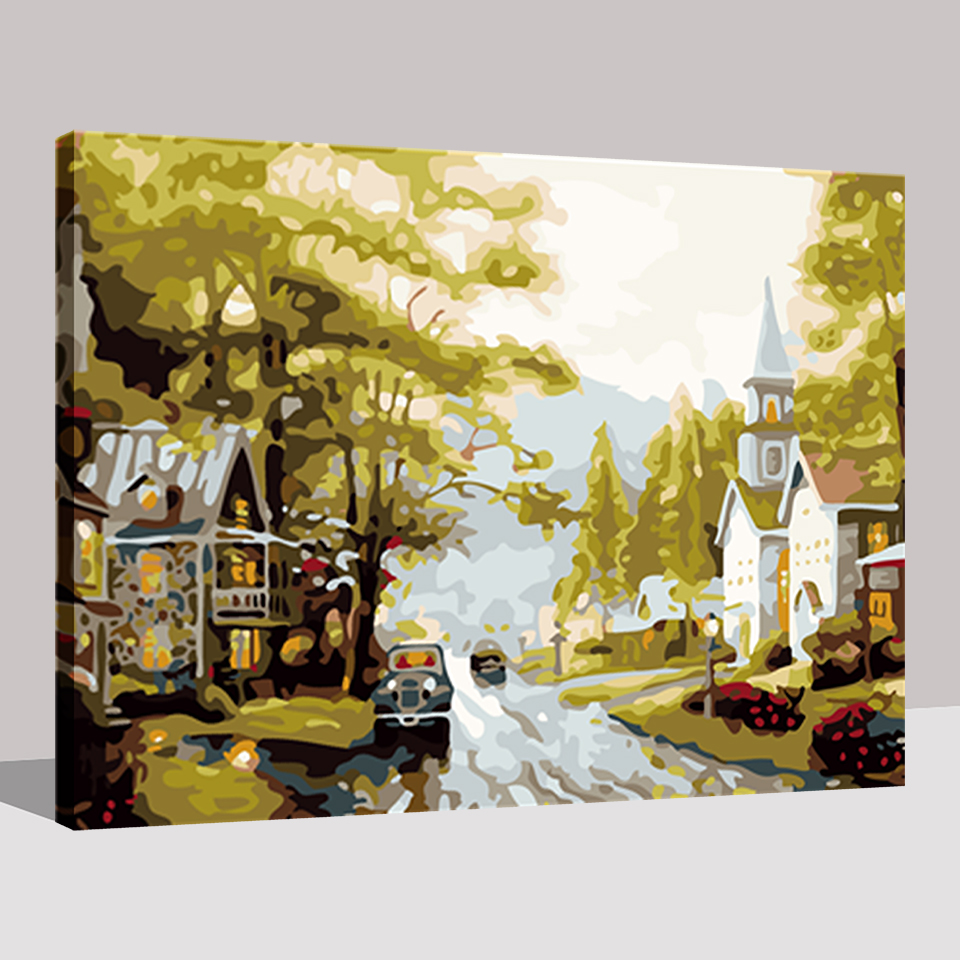 Decoration Wall Art Canvas Picture Small Town Landscape DIY Painting ...