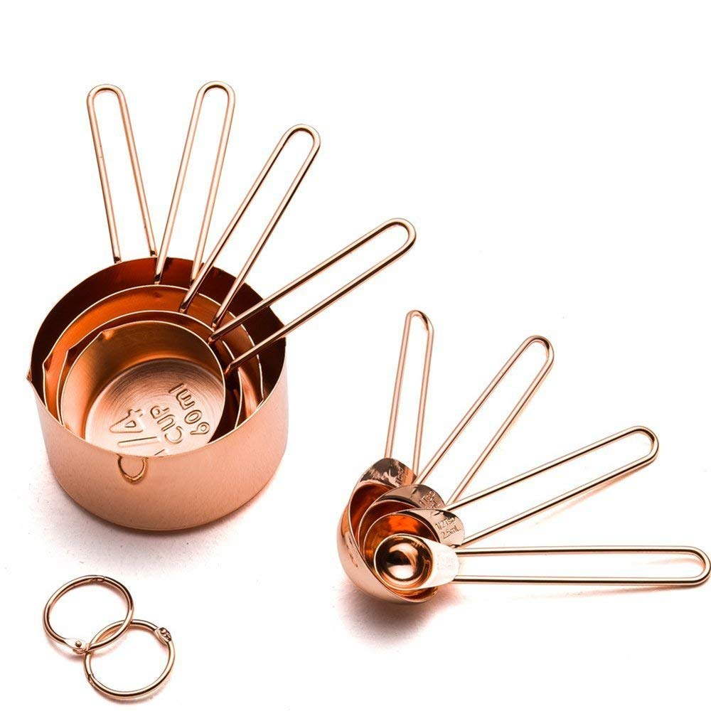 Realand Rose Gold 8pcs/set Copper Stainless Steel Measuring Cups And Spoons For Liquid And Dry Ingredients Teaspoon&Tablespoon