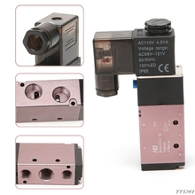 5 Way 2 Position Pneumatic Control Solenoid Air Valve 12V 24V 110V 220V 1/4 Engines Components Auto Replacement- G6KC