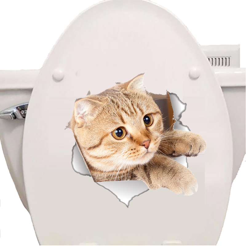 Nieuwe 3D Kat muursticker Kat Toilet Stickers Poster Gat Dier Muurstickers Kinderkamer Badkamer Art Home Party Decor Behang