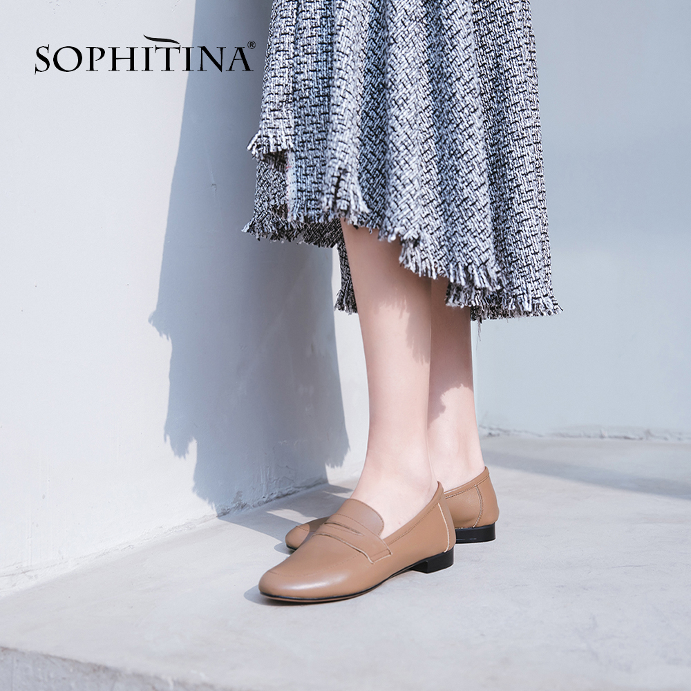 SOPHITINA New Spring Loafers Flats Genuine Leather Fashion Solid Slip-on Casual Shoes Handmade Shallow Comfortable Flats SO90