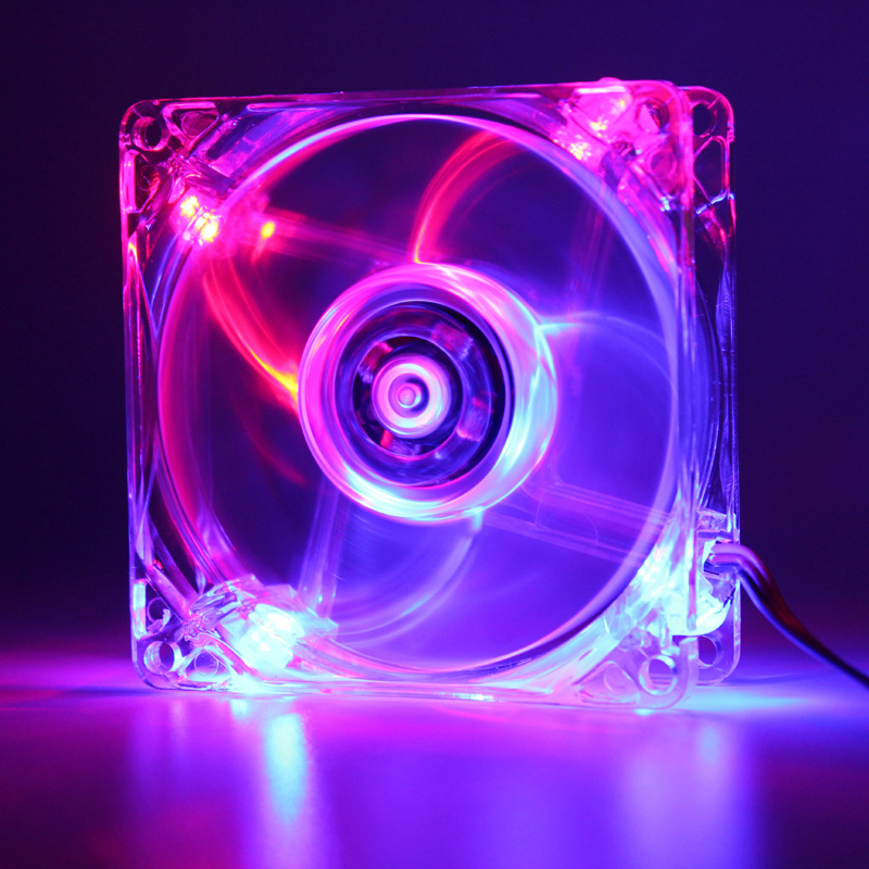 8cm Dissipate Heat LED Coloured Lights CPU Mute Power Supply 80mm Benchtop Computer Chassis Fans pc fan graphics card heatsink image