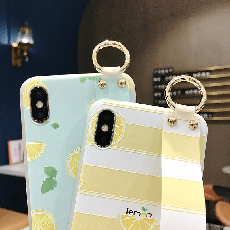 SoCouple Wrist Strap Phone Case For iphone Xs max Case For iphone X Xs XR 6 6S 7 8 plus Fruit Lemon Pattern Soft TPU Case Cover (6)