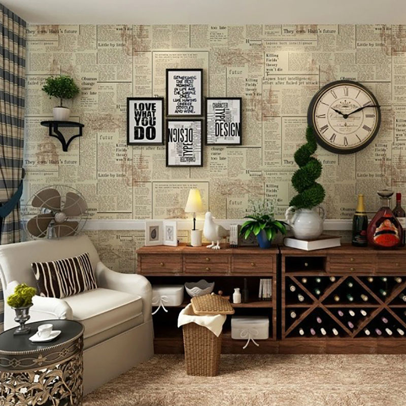 3D Vintage English Letters Wallpaper Roll PVC Newspaper Wall Paper Home  Decor for Bedroom Living Room Wallcovering-in Wallpapers from Home  Improvement on ...