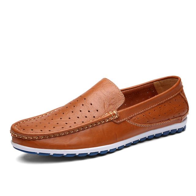 Zapatos de Los Hombres de Los Holgazanes de verano Transpirable Hombres Zapatos Casuales Resbalón En Marrón Amarillo Negro