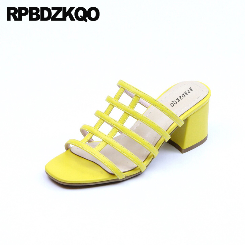 Chunky Strap Thick Vintage Gladiator Sandals Heels Slip On Strappy Women High Yellow Open Toe Pumps Shoes Genuine Leather Slides fringe slip on slides yellow
