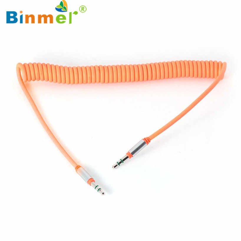 Binmer 2017  1pc  3.5 mm Coiled Stereo Audio Cable Car Auxiliary Audio Cable Male To Male Free shiping Sep 12