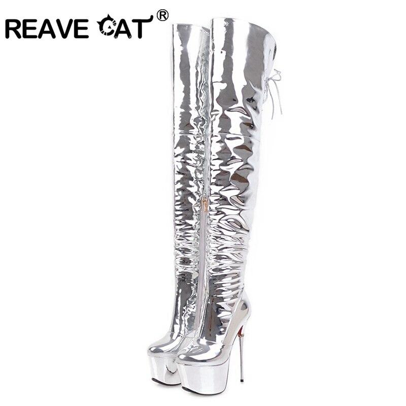 REAVE CAT/Сапоги до бедра из искусственной кожи на платформе; женские демисезонные сапоги; обувь на высоком каблуке; Сапоги выше колена с острым носком; A919